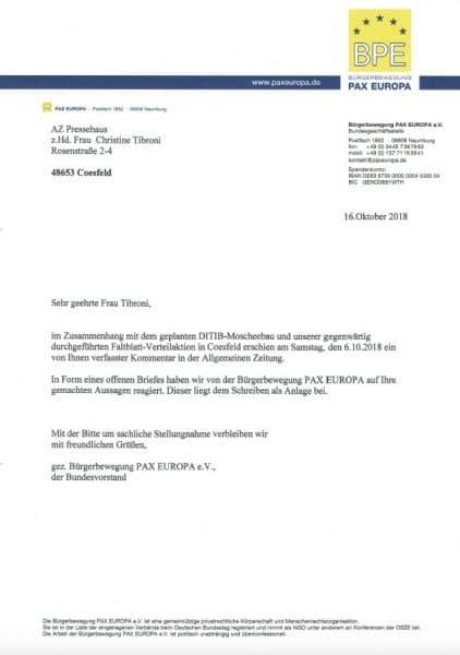 Coesfeld Offener Brief Der Bpe An Die Allgemeine Zeitung